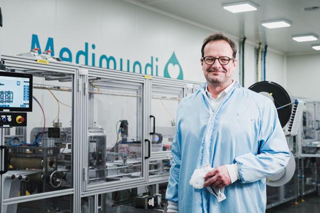The mask production line at Medimundi. Photo: Courtesy Medimundi.